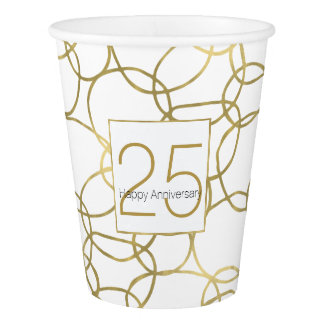 White Gold Glam Stylish Circles Anniversary Paper Cup
