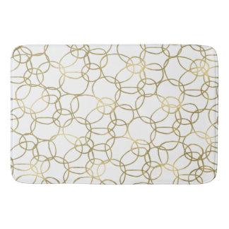 White Gold Glam Stylish Circles Bath Mat