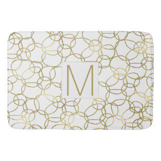 White Gold Glam Stylish Circles Monogram Bath Mat
