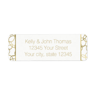 White Gold Glam Stylish Circles Return Address Label