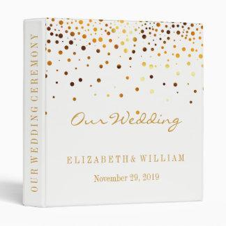 White Gold Glitter Faux Foil Confetti Personalize Binders