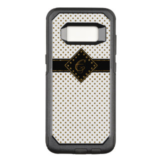 WHITE GOLD GLITTER GIRLY POLKA DOTS MONOGRAMMED OtterBox COMMUTER SAMSUNG GALAXY S8 CASE