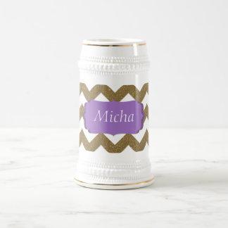White & Gold Glitter Look Chevron Monogram 18 Oz Beer Stein