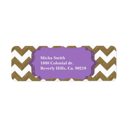 White & Gold Glitter Look Chevron Monogram Return Address Label