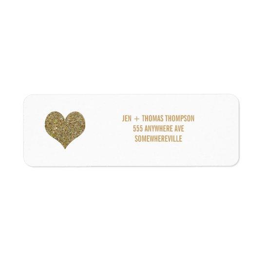 White & Gold Glitter Return Address Wedding Labels