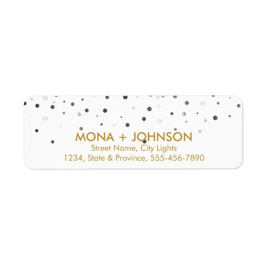 White Gold Glitter Sparkle Confetti Dots Modern Return Address Label
