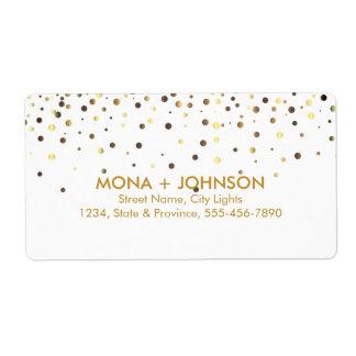 White Gold Glitter Sparkle Confetti Dots Modern Shipping Label
