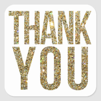 White & Gold Glitter Thank You Wedding Sticker