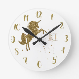 White & Gold Glitter Unicorn & Stars Personalized Round Clock