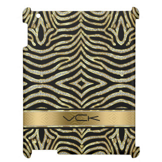 White & Gold Glitter With Black Zebra Stripes Case For The iPad 2 3 4