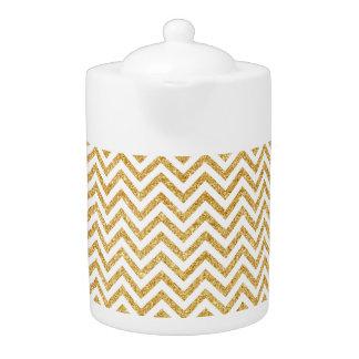 White Gold Glitter Zigzag Stripes Chevron Pattern