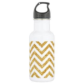 White Gold Glitter Zigzag Stripes Chevron Pattern 532 Ml Water Bottle