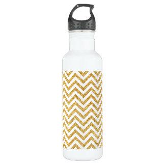 White Gold Glitter Zigzag Stripes Chevron Pattern 710 Ml Water Bottle