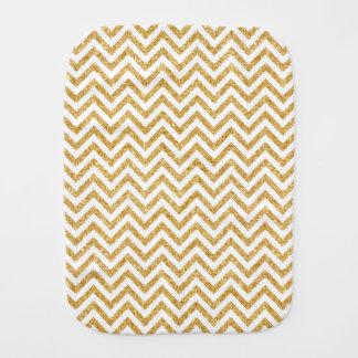 White Gold Glitter Zigzag Stripes Chevron Pattern Baby Burp Cloths