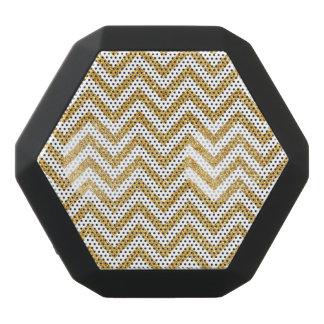 White Gold Glitter Zigzag Stripes Chevron Pattern Black Bluetooth Speaker