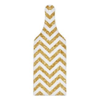 White Gold Glitter Zigzag Stripes Chevron Pattern Boards