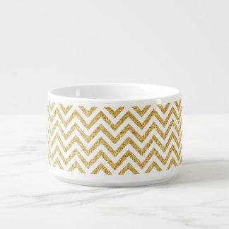 White Gold Glitter Zigzag Stripes Chevron Pattern Bowl