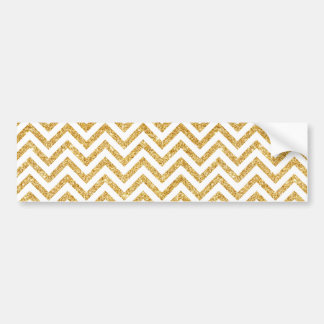 White Gold Glitter Zigzag Stripes Chevron Pattern Bumper Sticker