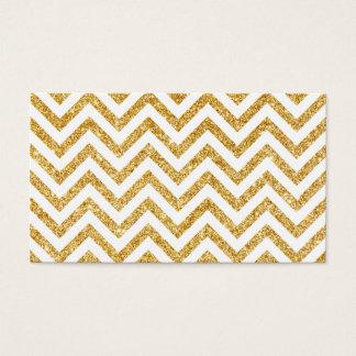 White Gold Glitter Zigzag Stripes Chevron Pattern Business Card