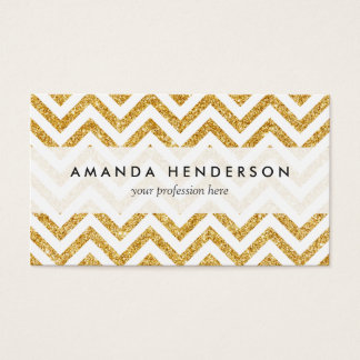 White Gold Glitter Zigzag Stripes Chevron Pattern Business Card