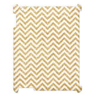 White Gold Glitter Zigzag Stripes Chevron Pattern Case For The iPad 2 3 4