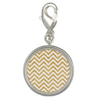 White Gold Glitter Zigzag Stripes Chevron Pattern Charms