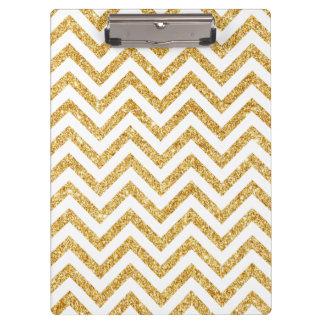 White Gold Glitter Zigzag Stripes Chevron Pattern Clipboard