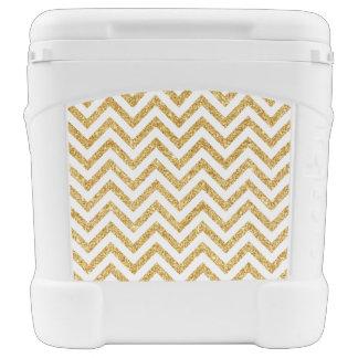 White Gold Glitter Zigzag Stripes Chevron Pattern Cooler