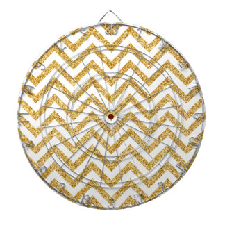 White Gold Glitter Zigzag Stripes Chevron Pattern Dartboards
