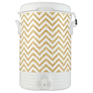 White Gold Glitter Zigzag Stripes Chevron Pattern Drinks Cooler
