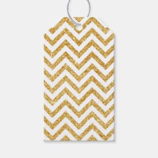 White Gold Glitter Zigzag Stripes Chevron Pattern Gift Tags
