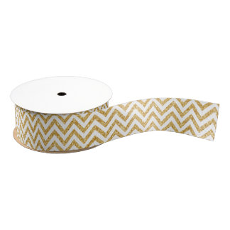 White Gold Glitter Zigzag Stripes Chevron Pattern Grosgrain Ribbon