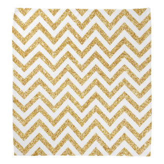White Gold Glitter Zigzag Stripes Chevron Pattern Head Kerchiefs