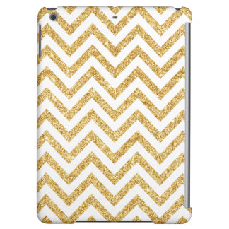 White Gold Glitter Zigzag Stripes Chevron Pattern iPad Air Case