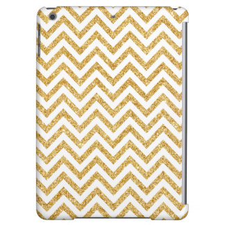 White Gold Glitter Zigzag Stripes Chevron Pattern iPad Air Cases