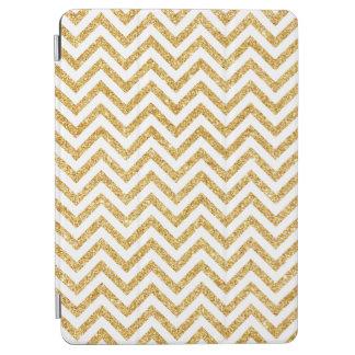 White Gold Glitter Zigzag Stripes Chevron Pattern iPad Air Cover
