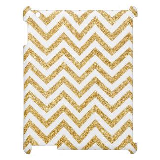 White Gold Glitter Zigzag Stripes Chevron Pattern iPad Covers