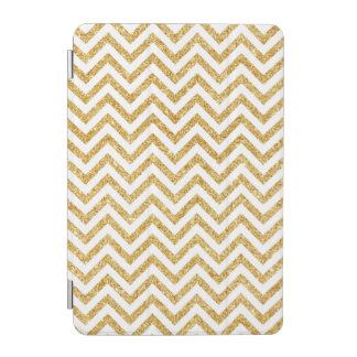 White Gold Glitter Zigzag Stripes Chevron Pattern iPad Mini Cover
