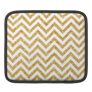 White Gold Glitter Zigzag Stripes Chevron Pattern iPad Sleeve