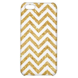White Gold Glitter Zigzag Stripes Chevron Pattern iPhone 5C Cover