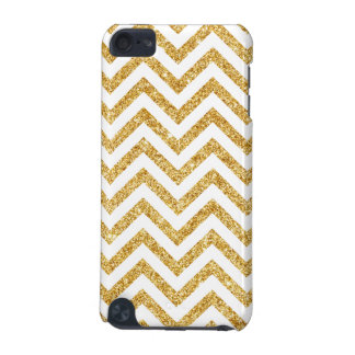 White Gold Glitter Zigzag Stripes Chevron Pattern iPod Touch (5th Generation) Cases