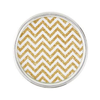 White Gold Glitter Zigzag Stripes Chevron Pattern Lapel Pin