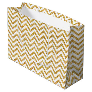 White Gold Glitter Zigzag Stripes Chevron Pattern Large Gift Bag