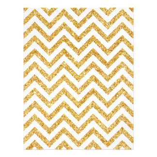 White Gold Glitter Zigzag Stripes Chevron Pattern Letterhead Design
