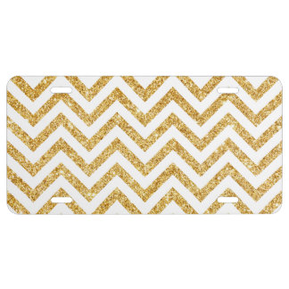 White Gold Glitter Zigzag Stripes Chevron Pattern License Plate