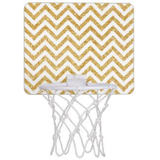 White Gold Glitter Zigzag Stripes Chevron Pattern Mini Basketball Hoop