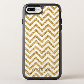 White Gold Glitter Zigzag Stripes Chevron Pattern OtterBox Symmetry iPhone 8 Plus/7 Plus Case