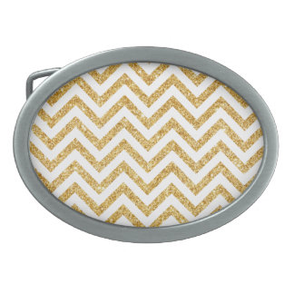 White Gold Glitter Zigzag Stripes Chevron Pattern Oval Belt Buckle
