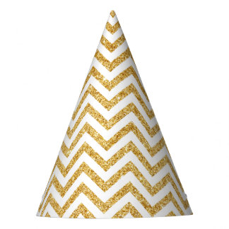 White Gold Glitter Zigzag Stripes Chevron Pattern Party Hat