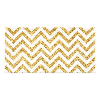White Gold Glitter Zigzag Stripes Chevron Pattern Personalized Photo Card